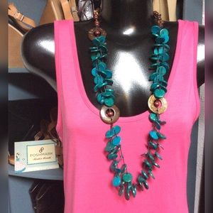 Paparazzi Necklace Wooden Teal & Brown